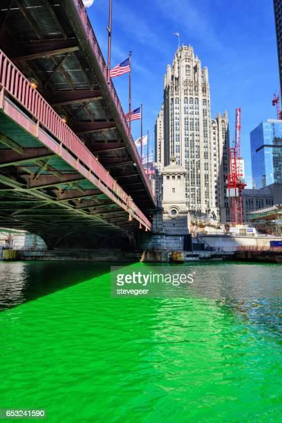 Green Chicago River, Bridge and Tribune Tower