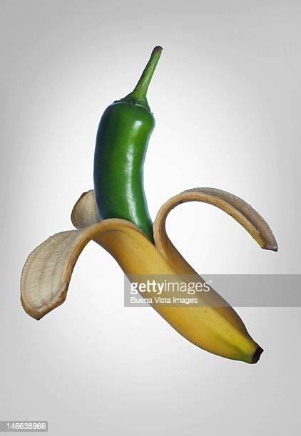 Green chili in a banana