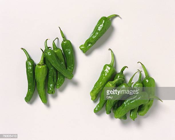 Green chilli peppers, high angle view