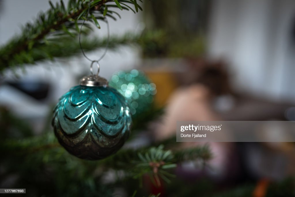 Green Christmas bauble on a pine tree branch, a blurred background : Foto de stock