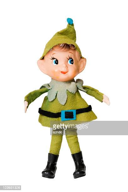 Green Christmas elf on a white background