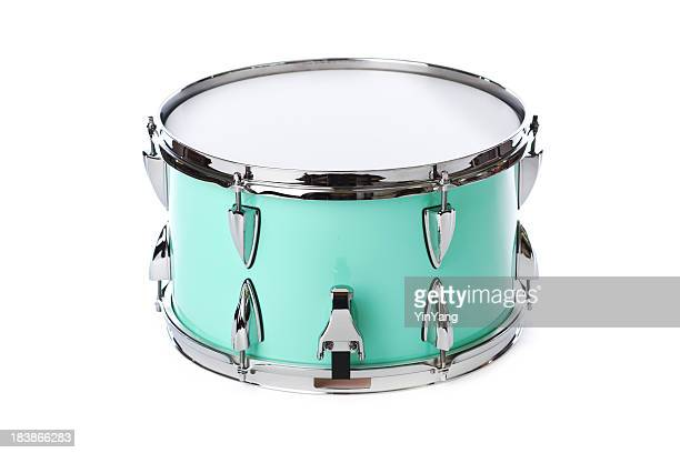 Green, Chrome Snare Drum, Percussion Musical Instrument, Isolated on White