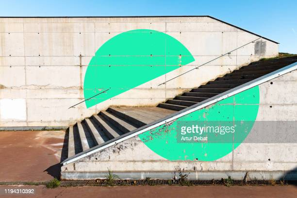 green circle geometry painted in minimal urban architecture. - 動物の行動 ストックフォトと画像