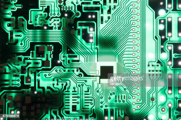 Green Circuit Board Pattern Background