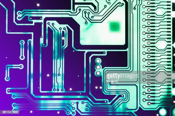 Green Circuit Board, Purple Light Glow