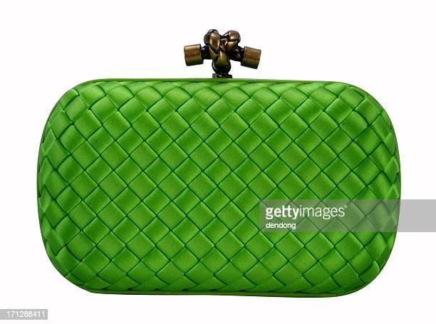 a green clutch handbag isolated on white - clutch bag stock pictures, royalty-free photos & images