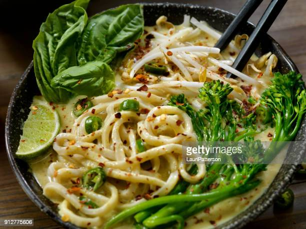 Green Curry Noodle Soup with Broccolini, Bean Sprouts and Fresh Basil,