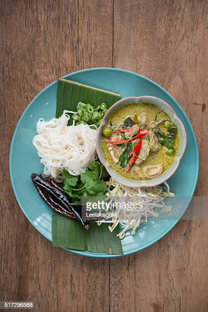 Green curry with rice noodles.