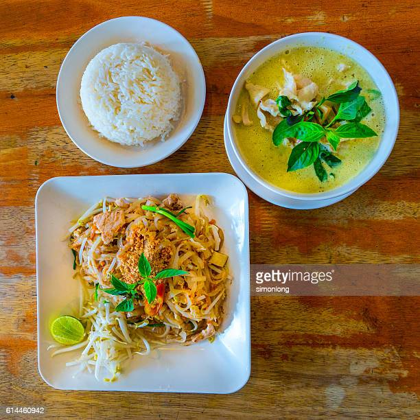 Green Curry with White Rice and Fried Noodles