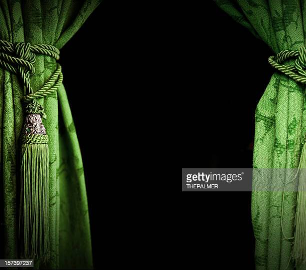 green curtains - tassel stock pictures, royalty-free photos & images