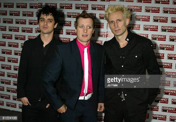 Green Day arrives at the 11th annual Kerrang Awards 2004 at the Carling Academy Brixton on August 26 2004 in London The music awards hosted by...