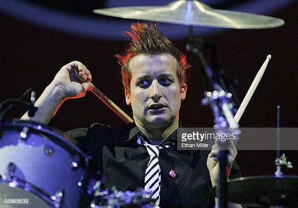 Green Day drummer Tre Cool performs at the Thomas Mack Center on October 6 2005 in Las Vegas Nevada The band is touring in support of the...