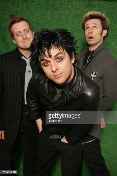 Green Day drummer Tre Cool vocalist and guitar player Billie Joe Armstrong and bass player Mike Dirnt pose for a portrait on the eve of their...