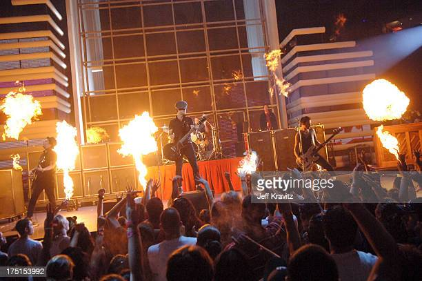 Green Day during 2005 MTV VMA Rehearsals Day 2 at American Airlines Arena in Miami Florida United States