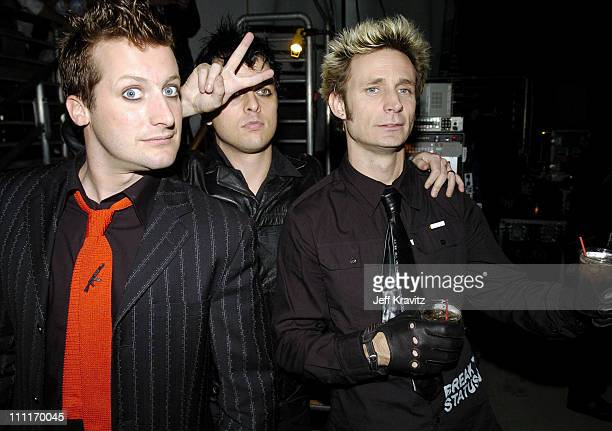 Green Day during Spike TV's 2nd Annual Video Game Awards 2004 Backstage at Barker Hangar in Santa Monica California United States
