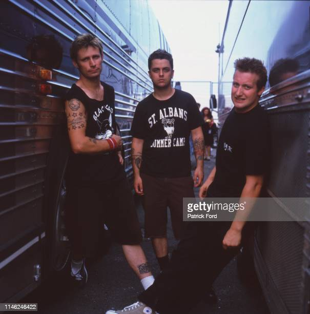 Green Day group portrait Vans Warped Tour United States 2000 LR Mike Dirnt Billie Joe Armstrong Tre Cool