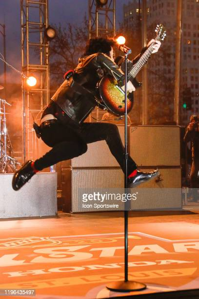 Green Day lead singer Billy Joe Armstrong jumps at end of song during performance prior to the 2020 NHL AllStar Game on January 25 at Enterprise...