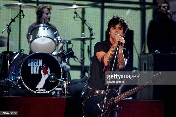 Green Day musician Billie Joe Armstrong performs on stage during rehearsals for the 2005 MTV Video Music Awards at the American Airlines Arena August...