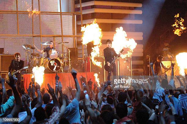 Green Day perform Boulevard of Broken Dreams during 2005 MTV Video Music Awards Show at American Airlines Arena in Miami Florida United States