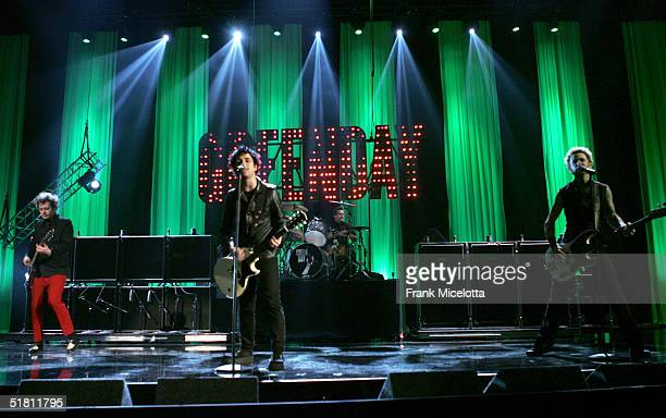 Green Day perform during the second day of rehearsals at the VH1 Big in 04 at the Shrine Auditorium on December 1 2004 in Los Angeles California