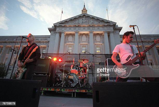 Green Day performing during a free concert at San Francisco's Civic Center during the Million Band March to help local artists and stop the take over...