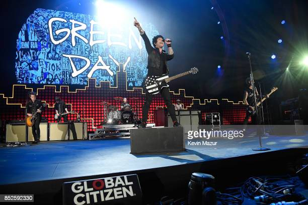 Green Day performs onstage during the 2017 Global Citizen Festival For Freedom For Justice For All in Central Park on September 23 2017 in New York...