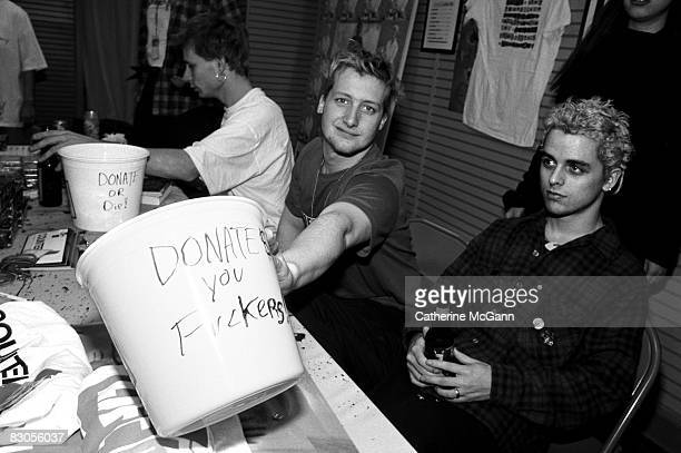 Green Day solicit donations for HIV/AIDS organization LIFEbeat at a record store appearance in 1994 in New York City New York
