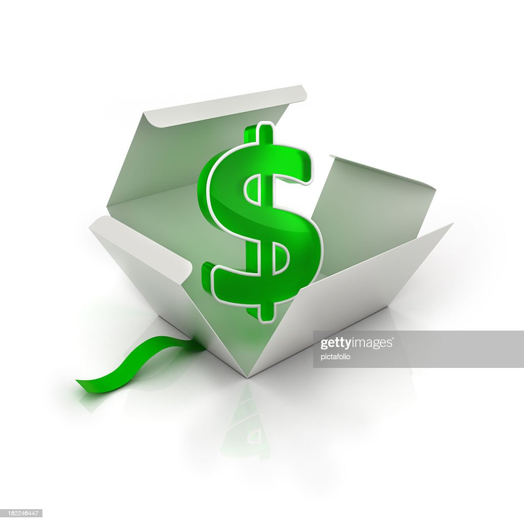 Green dollar sign in white opened gift box : Stock Photo