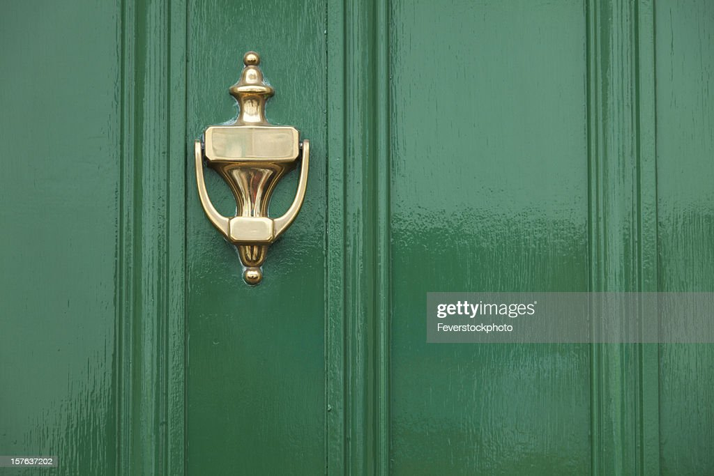 Green Door With Brass Knocker : Stock Photo