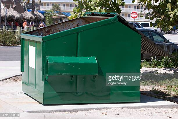 green dumpster - garbage bin stock pictures, royalty-free photos & images
