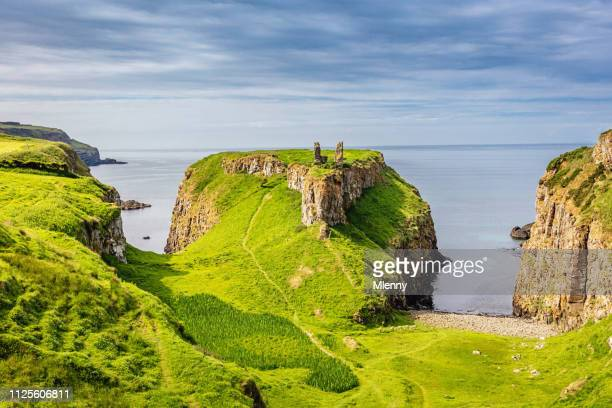 green dunseverick northern ireland causeway road coastal landscape - irish sea stock pictures, royalty-free photos & images