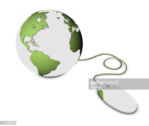 緑の地球と地球のコンピューターのマウス