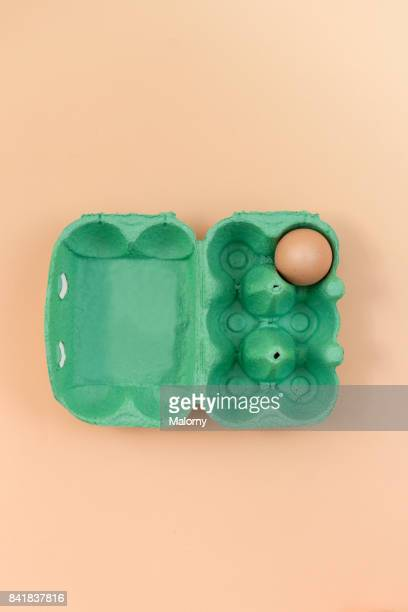 Green egg carton with eggs on pastel background. Pastels. Greenery