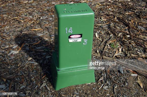 green electricity box/pillar, a connection point between sections of underground electricity cables, beside a road in canberra, australian capital territory, australia - electrical box stock pictures, royalty-free photos & images
