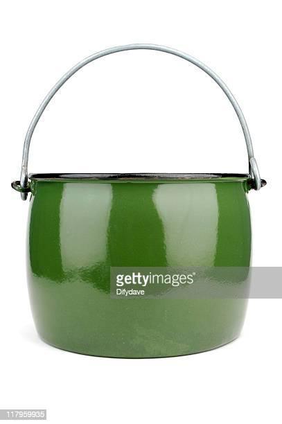 Green Enamel Cauldron Or Cooking Pot