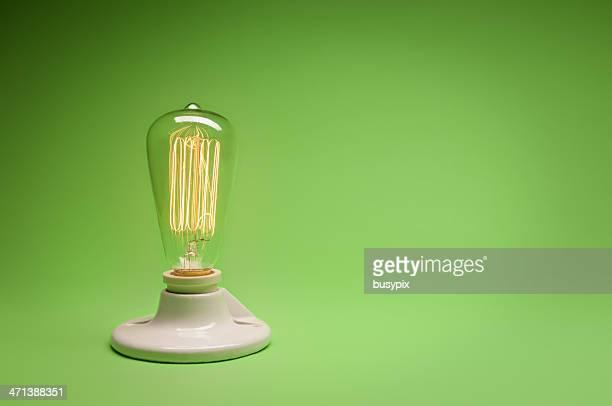 Green Energy Incandecent Lightbulb w/ copy space.