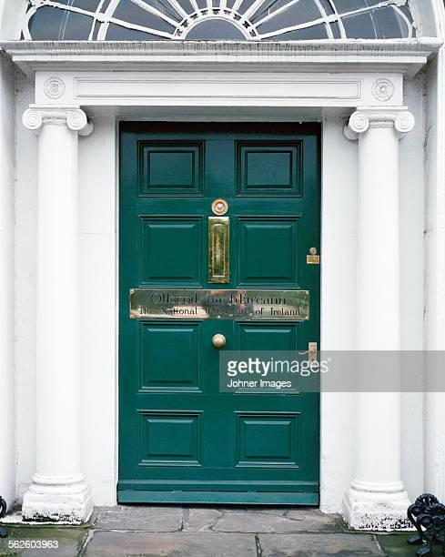 Green entrance door