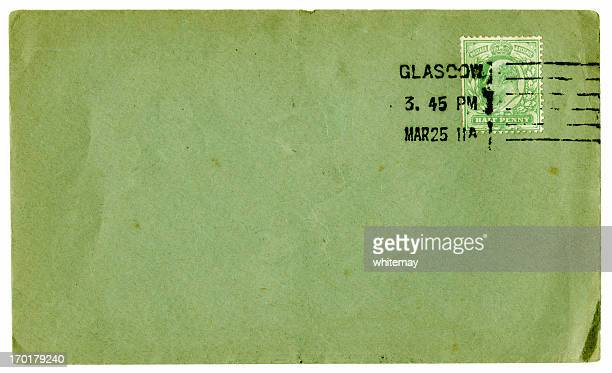 green envelope from glasgow, 1911 - glasgow green stock pictures, royalty-free photos & images