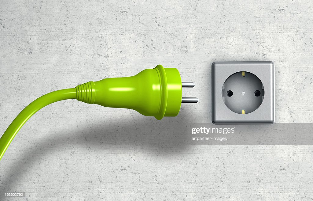 Green european power plug + green cable : Stock Photo