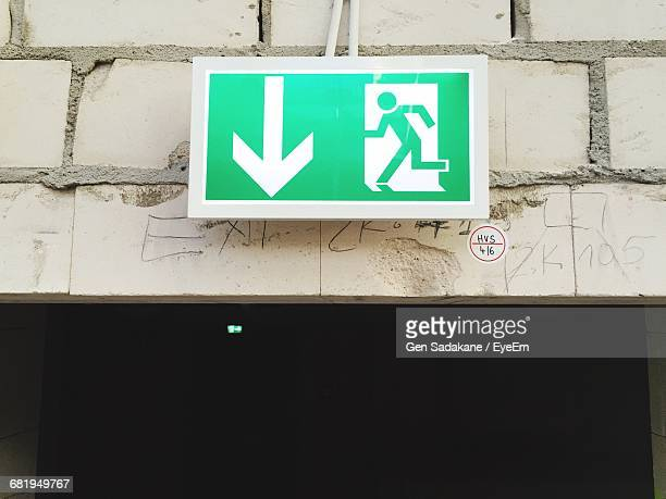 Green Exit Sign On Wall