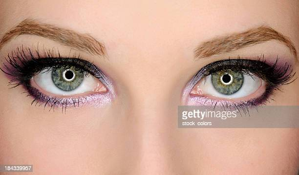 green eyes - eye make up stock photos and pictures