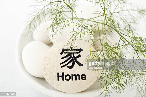 green fern on top of rock with home inscribed - feng shui stock photos and pictures