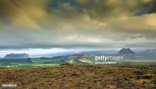Green field in morning ;Iceland
