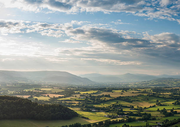 Green Fields And Misty Mountains Aerial Landscape Wall Art