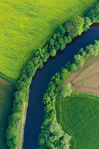 Green Fields Summer Crops River Aerial View Wall Art