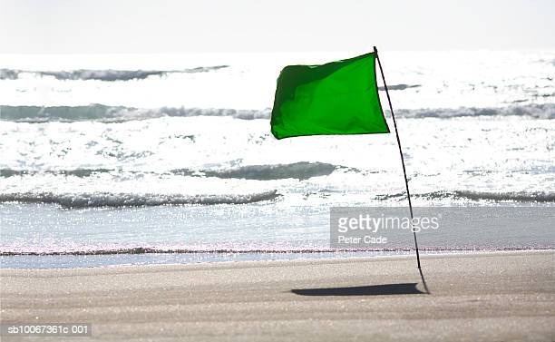 Green flag on beach