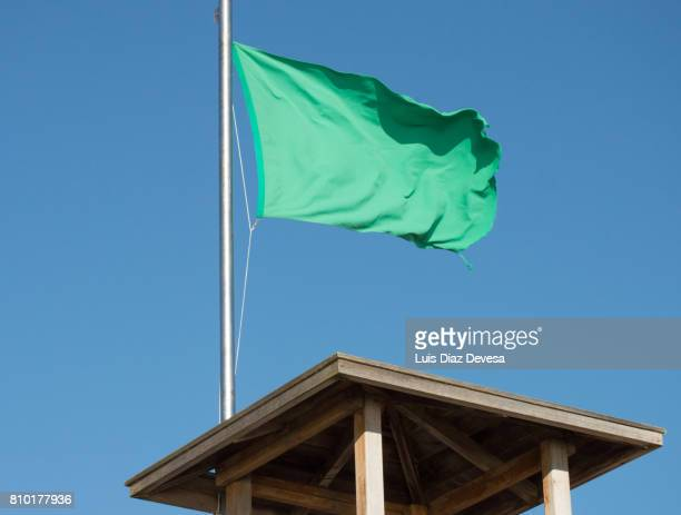 Green flag on lifeguard