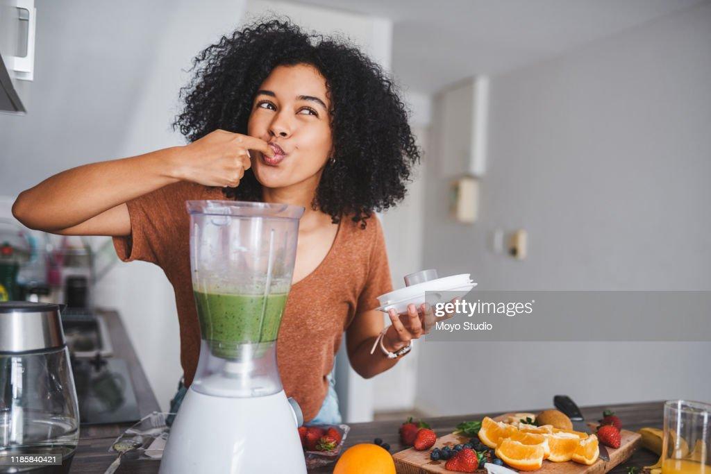 Groen eten doet het lichaam goed : Stockfoto