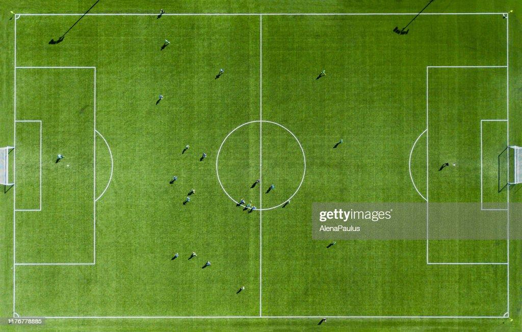 Green football pitch bovenaanzicht : Stockfoto