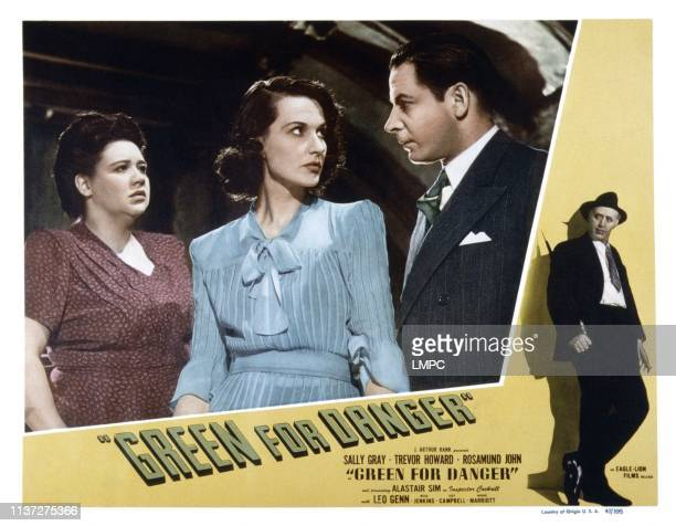 Green For Danger, US lobbycard, from left: megs Jenkins, Judy Campbell, Leo Genn, Alastair Sim, 1947.